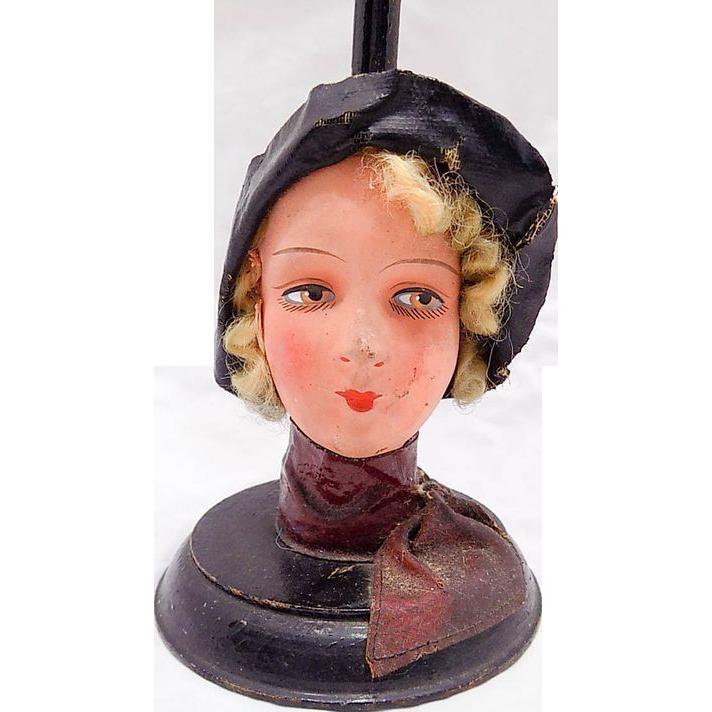 7e6f10c4c2c Vintage German Papier Paper Mache Art Deco Flapper Doll Head Hat Stand