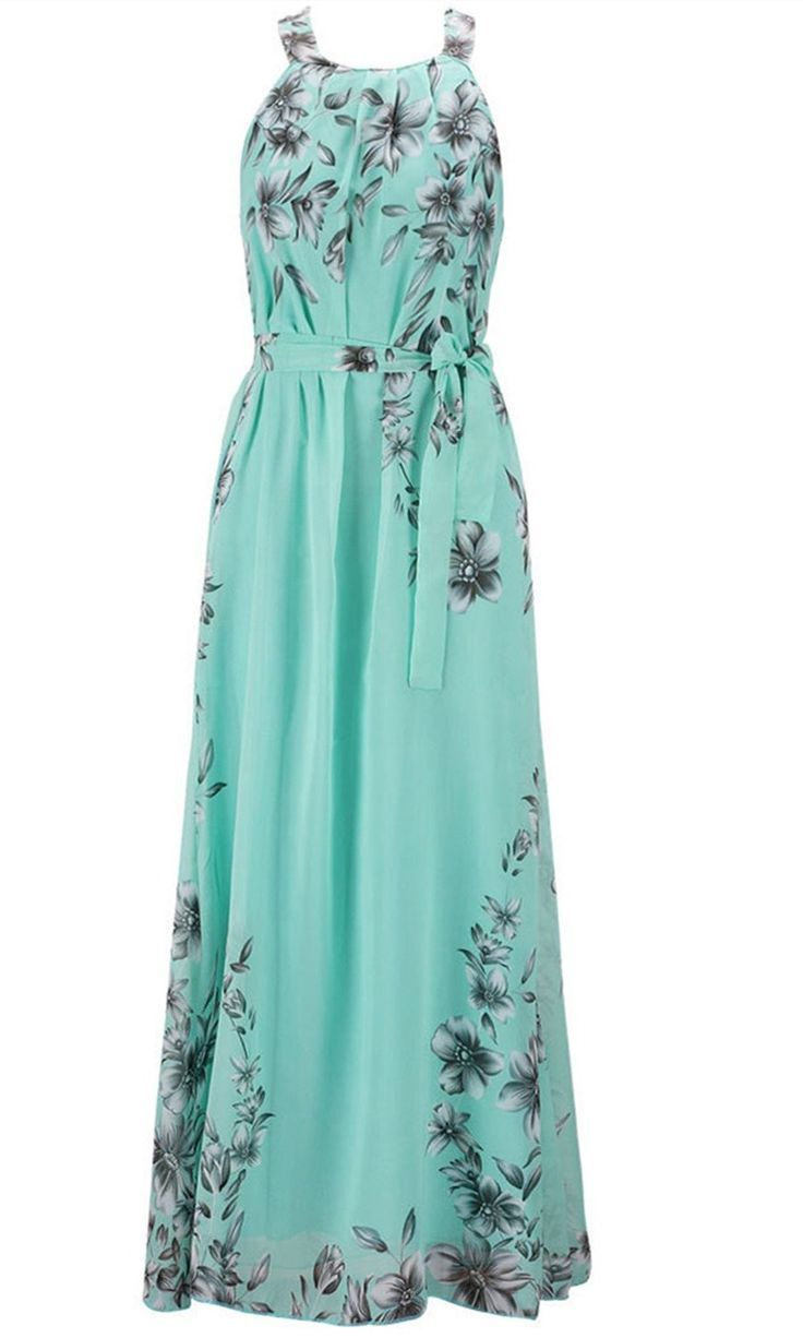 wicky women's floral printed summer chiffon dress beach formal