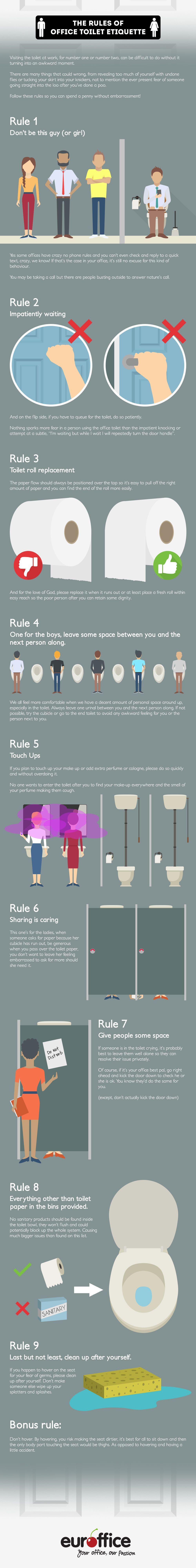 The Rule Of Office Toilet Etiquette #Infographic