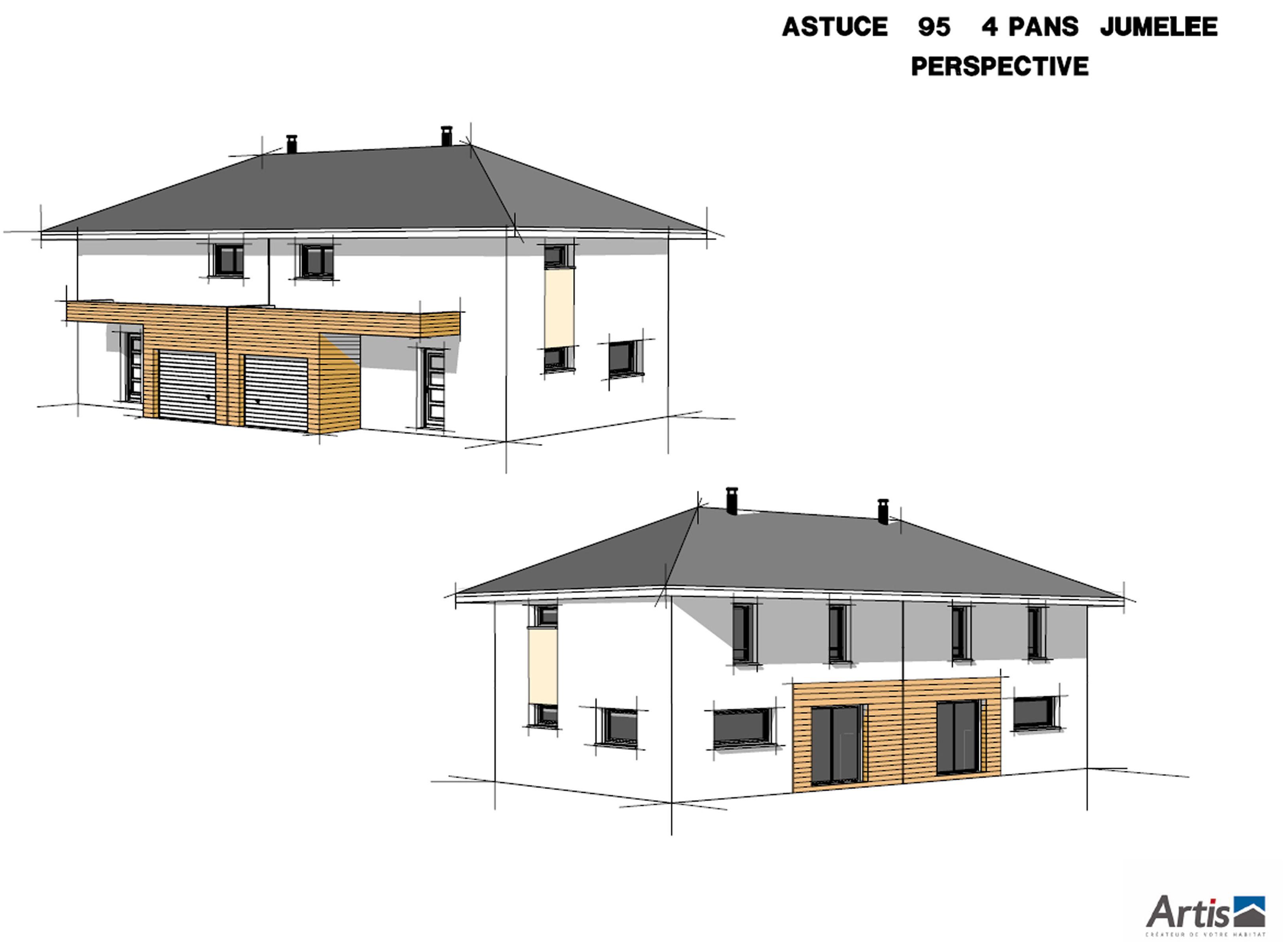 maison jumele ou mitoyenne sur plan le modle astuce jumele du groupe artis - Plan Maison Mitoyenne Par Le Garage