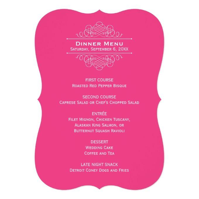 Wedding Dinner Menu Card  Hot Pink  Wedding Dinner Menu Wedding