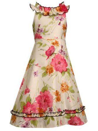 Bonnie Jean Spring Summer Gloral Dresses Girls 16 OR 4