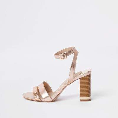5b4d78b441e River Island Womens Rose gold metallic block heel sandals Faux Leather  Fabric