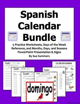 Spanish Calendar Bundle Days Of The Week Months And Seasons