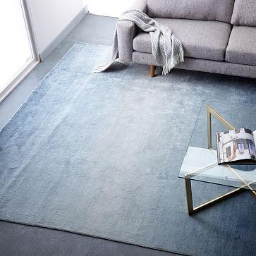 Ombre Shine Wool Rug Blue Lagoon Westelm Blue Rugs Living Room Rugs In Living Room Trendy Living Rooms