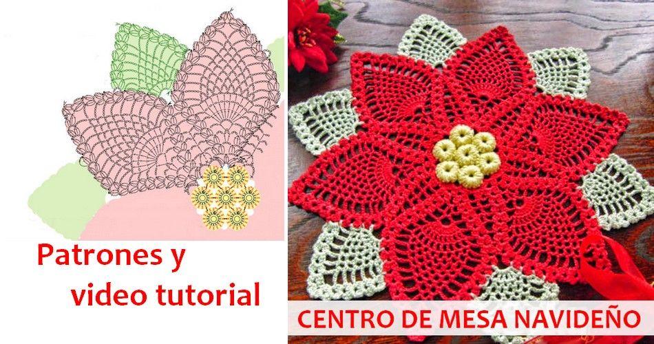Fant stico centro de mesa navide o al crochet p0nchos for Centros de mesa de ganchillo
