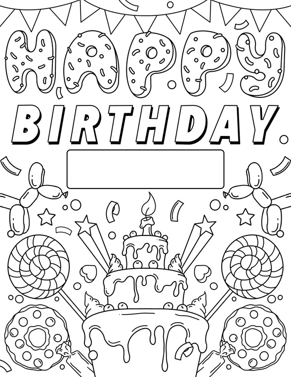 Color Our Free Happy Birthday Coloring Page That's Also A Free Printable  Birthday Si… Birthday Coloring Pages, Happy Birthday Coloring Pages,  Happy Birthday Signs