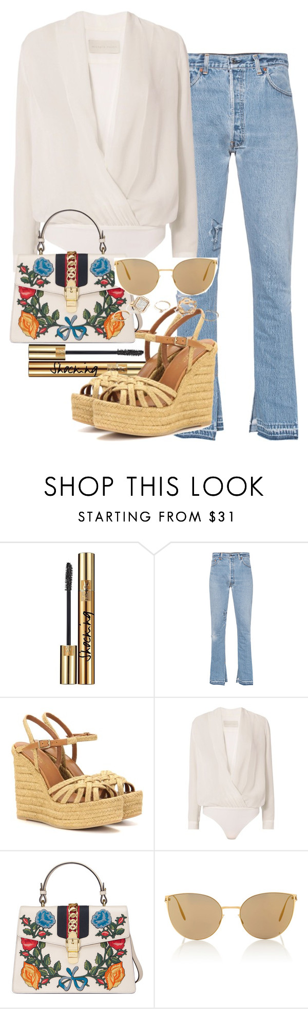 """""""Sem título #5502"""" by lguimaraes ❤ liked on Polyvore featuring Yves Saint Laurent, RE/DONE, Michelle Mason, Gucci, Mykita and GUESS"""