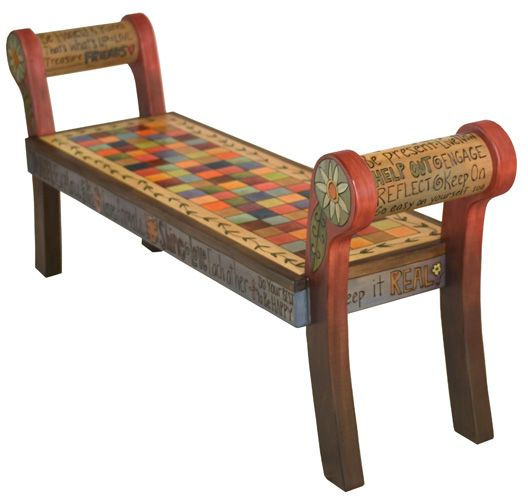 Rolled Arm Bench with Wood Seat