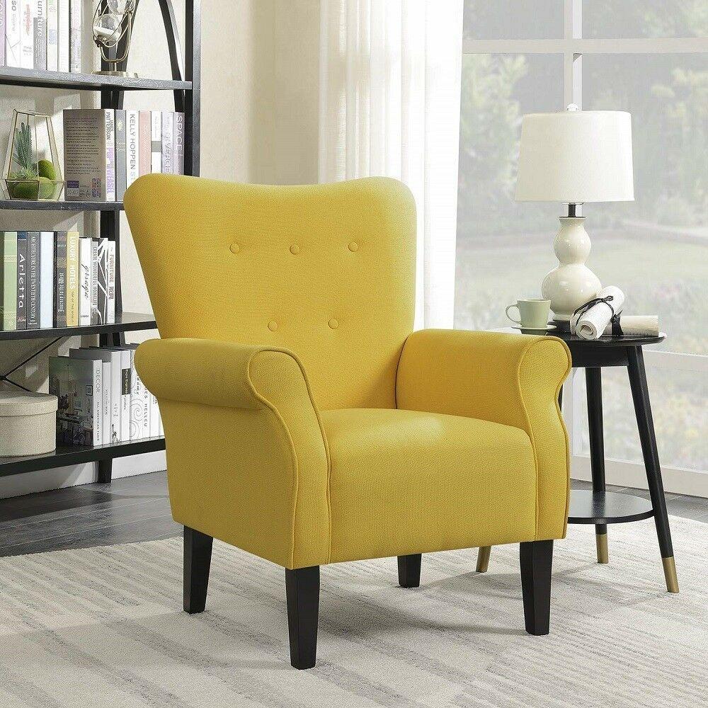 Bedroom Armchair Yellow Upholstered Linen Fabric Living Room