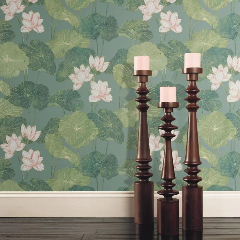 Circinus Lily Pad 16 5 L X 20 5 W Peel And Stick Wallpaper Roll Peel And Stick Wallpaper Aqua Lily Pad Wallpaper Roll