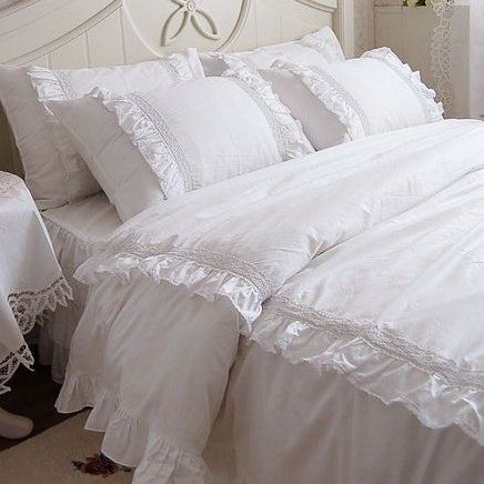 romantic white lace ruffle queen duvet cover bedding set