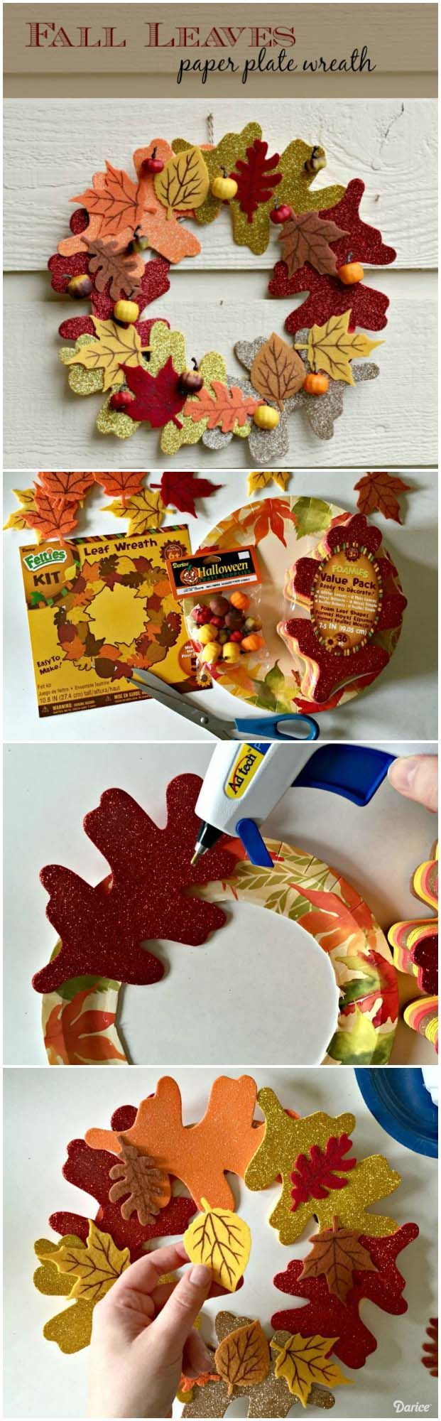 Hereu0027s a fun and easy fall leaves paper plate wreath that will look fantastic gracing your & Paper Plate Wreath: Easy Fall Leaves Idea- Darice | Fall leaves ...