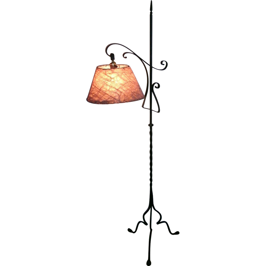 Vintage Wrought Iron Gothic Arts Crafts Bridge / Floor Lamp with ...