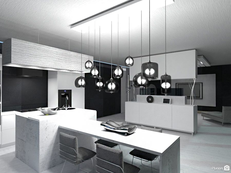 Living room, black and white, PLANNER 5D | Interior design ...