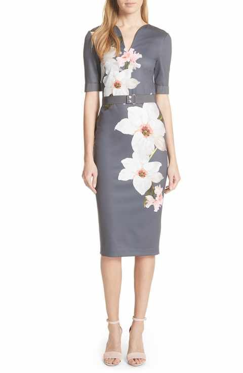f445836b Ted Baker London Floral Print Belted Body-Con Dress | Ted Baker ...