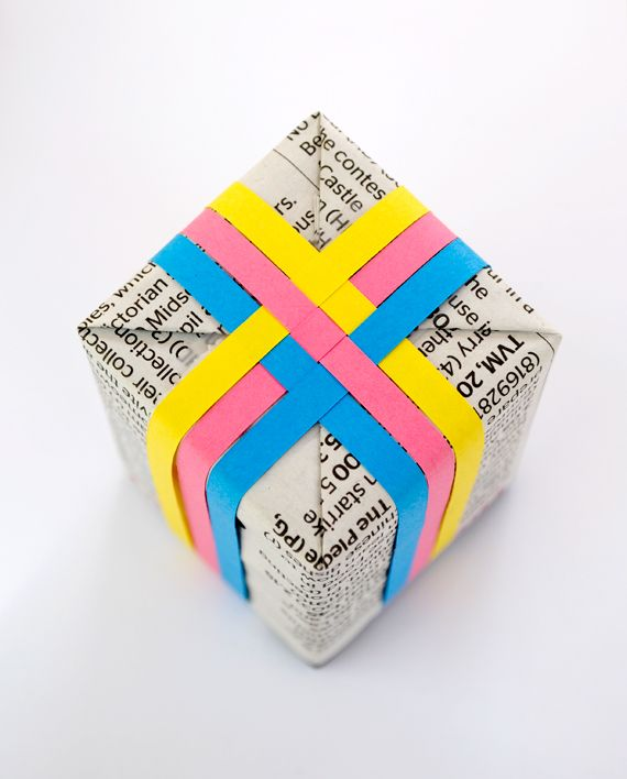 Add interesting pops of color to newspaper wrapping.