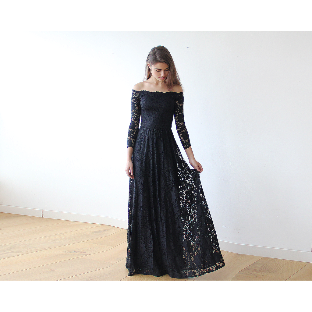 Offtheshoulder black floral lace long sleeve maxi dress stay