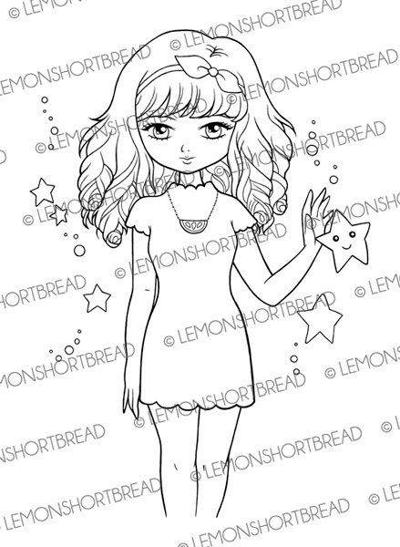 Lemon Star Girl Digital Stamp, Digi Stamps PNG, Fashion Girl, Adult Colouring Page, Cardmaking Supply, Sweet Gothic Lolita, Instant Download