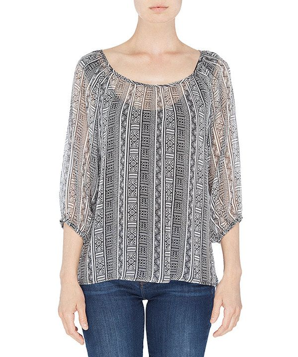 Take a look at this Gray Sheer Tribal Silk Elizabeth Top on zulily today!