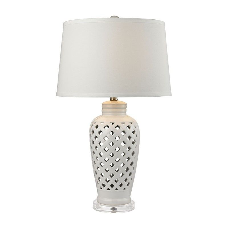 $150 16Dia x 27H 150watts (one way or 3way switch?) ceramic body with crystal base and linen hardback shade. Great silhouette and pierced body- paint any color to match all decors. Darlyn Table Lamp