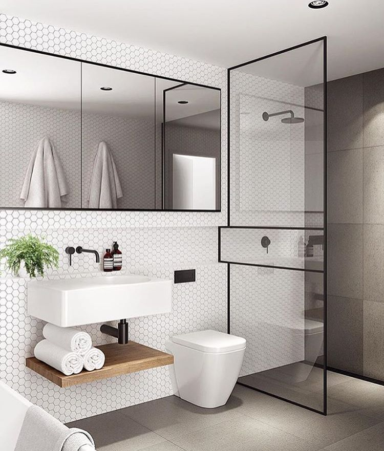 Minimalist Bathroom Toiletries: Built In Accessories With Ledge For