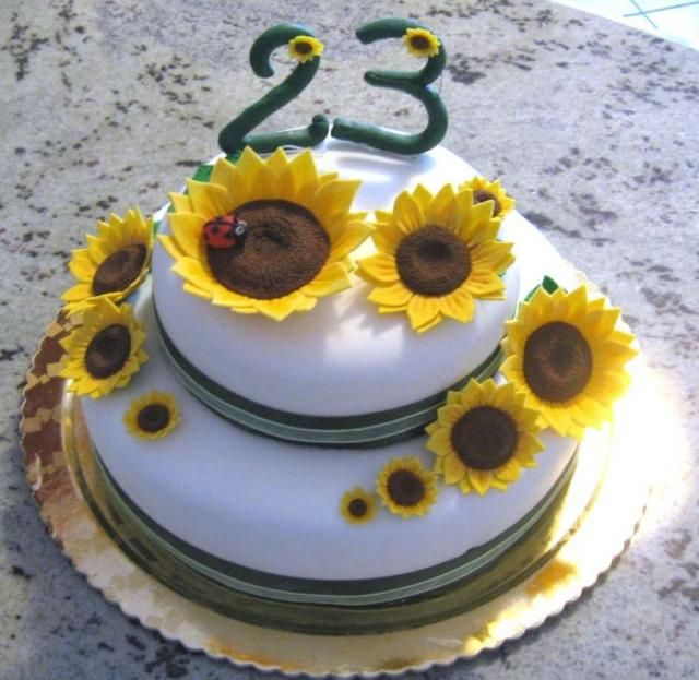White round birthday cake with sunflowers and ladybug.JPG