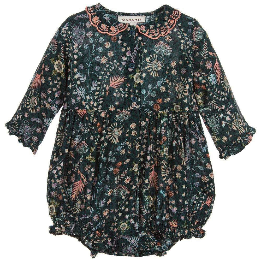 bcb455f4c597 Caramel Baby Girls green floral shortie available  Childrensalon ...