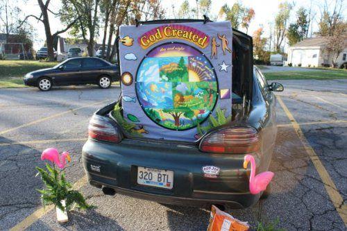 Bible Themed trunk or treat idea - God's Creation #trunkortreatideasforcarsforchurch