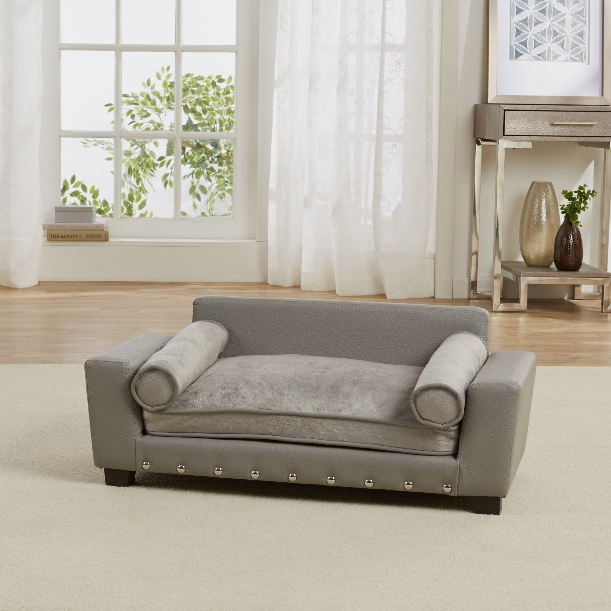 Enchanted Home Pet Grey Scout Pet Sofa 32 L X 17 25 W Dog Bed Pet Sofa Dog Sofa