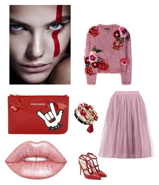 """""""Una romantica rocker"""" by luisa on Polyvore featuring Dolce&Gabbana, Lime Crime, Dsquared2, Boohoo and Valentino"""