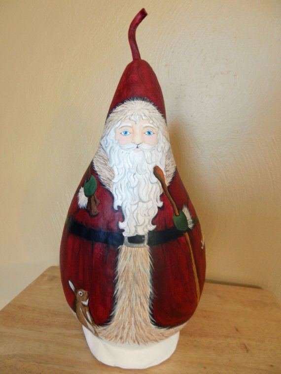 Woodland Santa painted gourd by BostfulBits on Etsy, $65.00