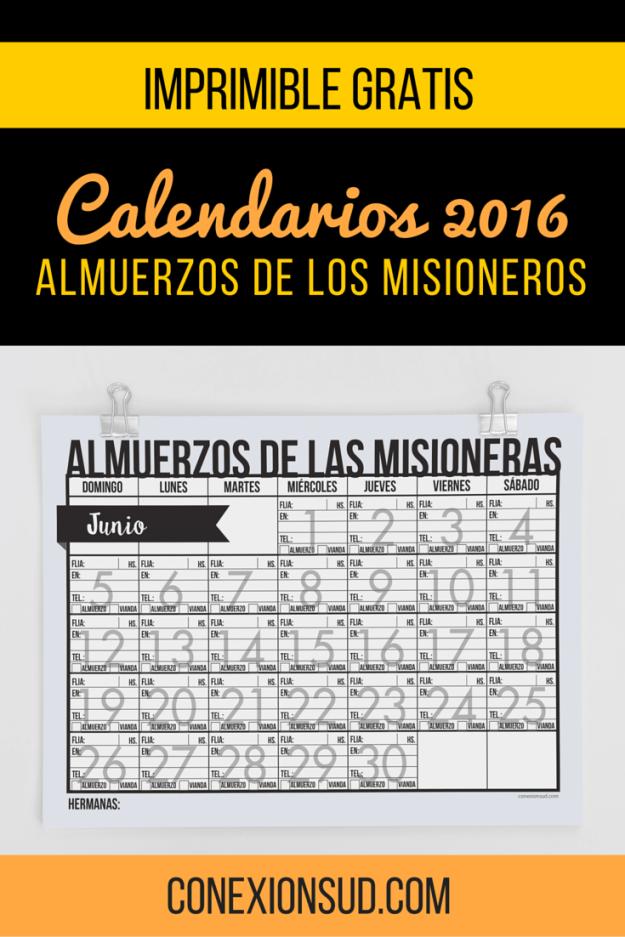 Calendario de Almuerzo de Misioneros 2016 | Relief society