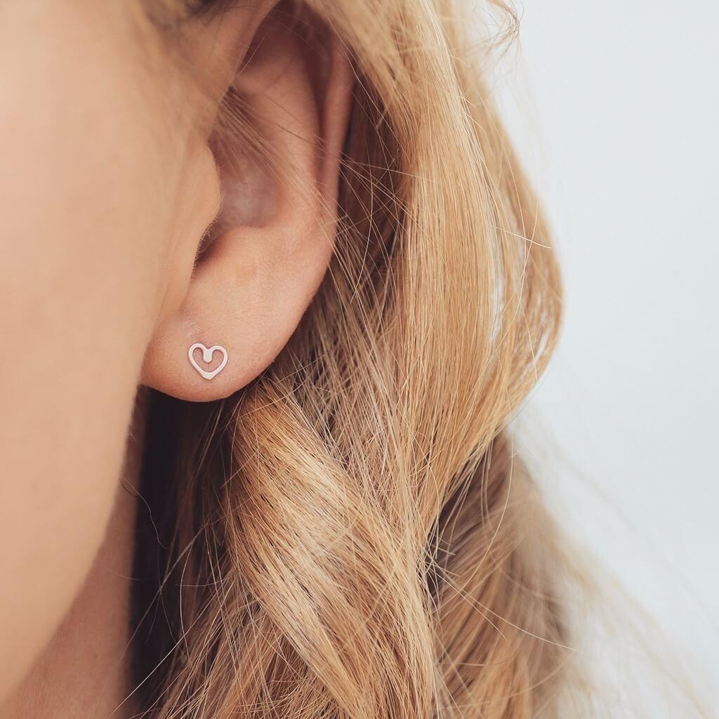 1b450f288 Tiny Sterling Silver Heart Stud Earrings. Heart earrings, dainty earrings.  second hole earrings