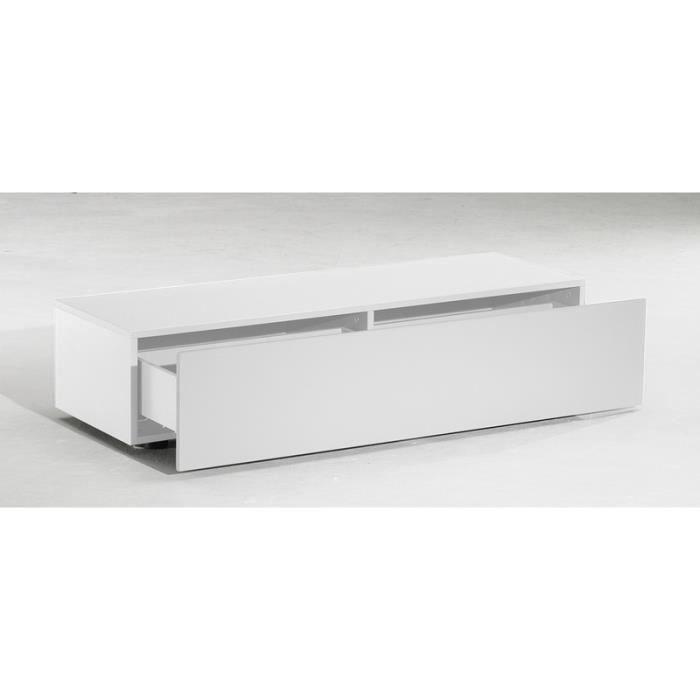 Meuble tv bas delta 1 tiroir blanc mat 120cm achat for Meuble bas pour salon