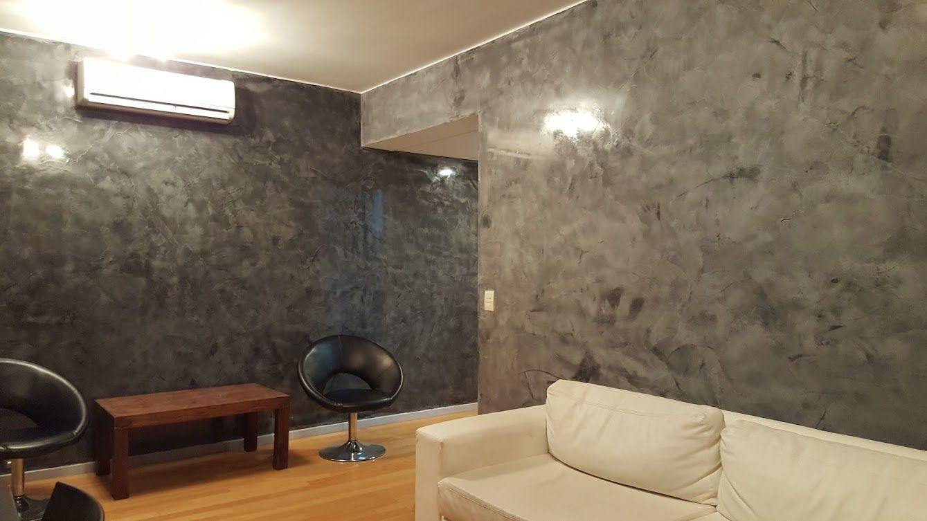 Revestimiento decorativo en estuco veneciano gris dise o - Revestimiento paredes interior ...