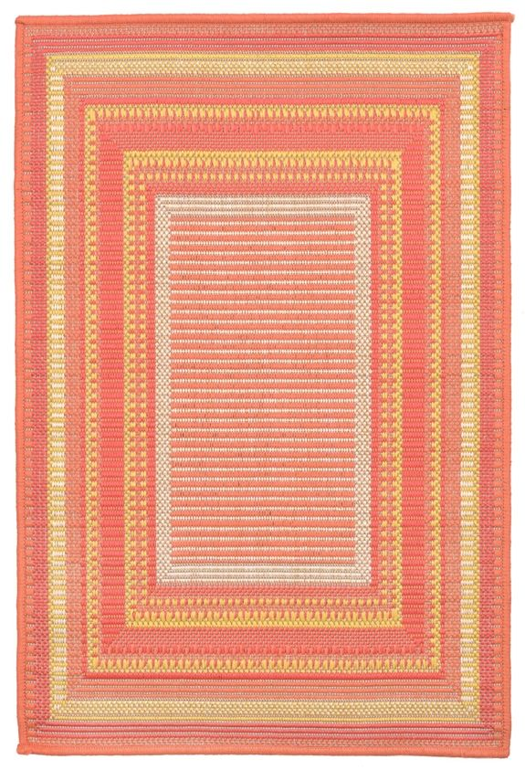 A tight weave of Polypropylene allows for the fun detailed designs. Wilton Woven in Turkey of 100% polypropylene and UV stabilized for Indoor and Outdoor use. A tight weave of Polypropylene using 4 fashion colors in each rug creates visual interest...
