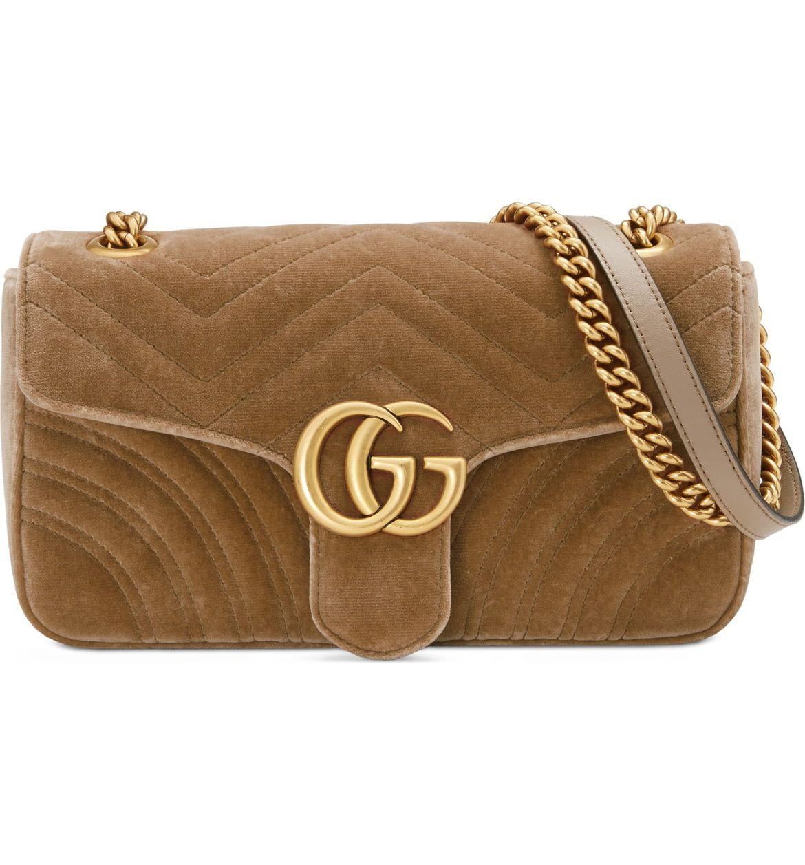 881287bae72b Gucci Medium GG Marmont 2.0 Matelassé Velvet Shoulder Bag in Taupe |  Nordstrom