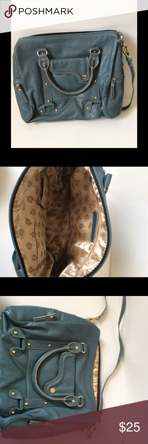 Large blue handbag- tons of pockets! Perfect large purse with lots of pockets. Can fit small laptop. Great condition! Bags Shoulder Bags