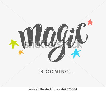 Vector Hand Written Text Magic Word Isolated Card Congratulation Greeting Party Poster Advertising Banner Placard Design Template
