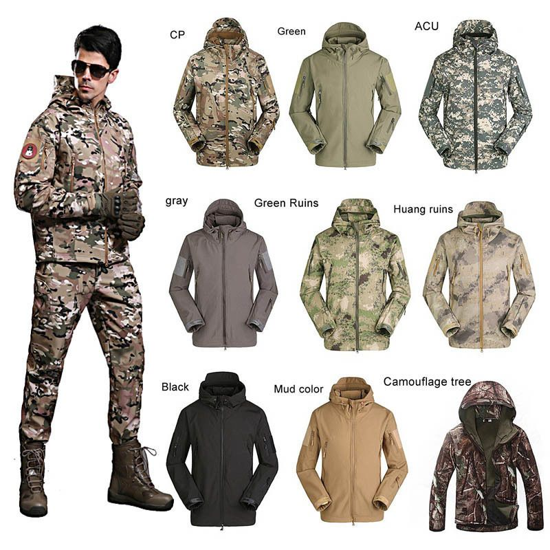 Men Women Army Military Tactical Jacket Soft Shell Waterproof Hunting  OVERCoat  ESDY  Military  Outdoor 4d7d1eb31d