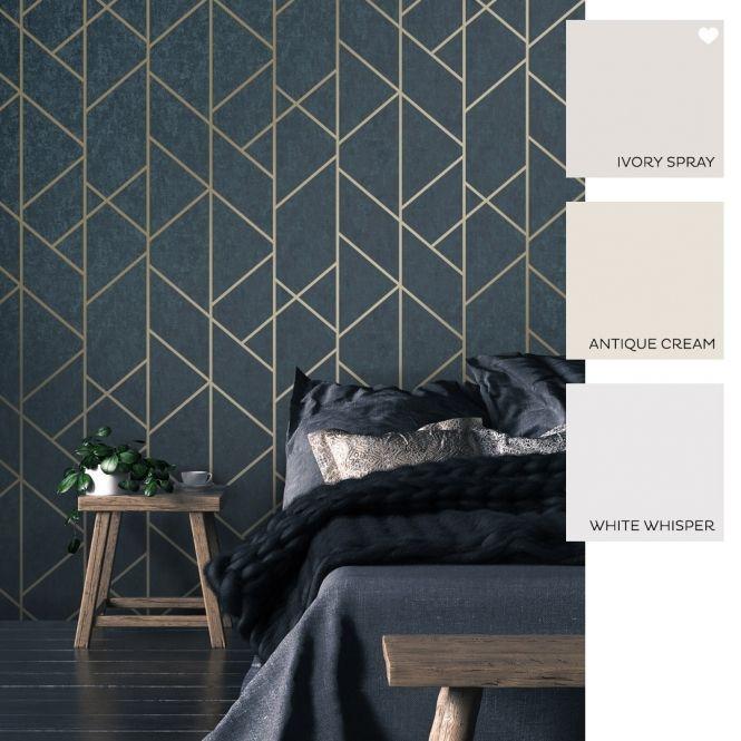 Best I Love Wallpaper Milan Geo Metallic Wallpaper Navy Gold In 400 x 300