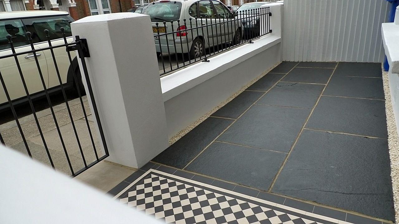 garden wall metal rails and gates modern mosaic tile path london outdoor living pinterest gardens garden ideas and victorian front garden