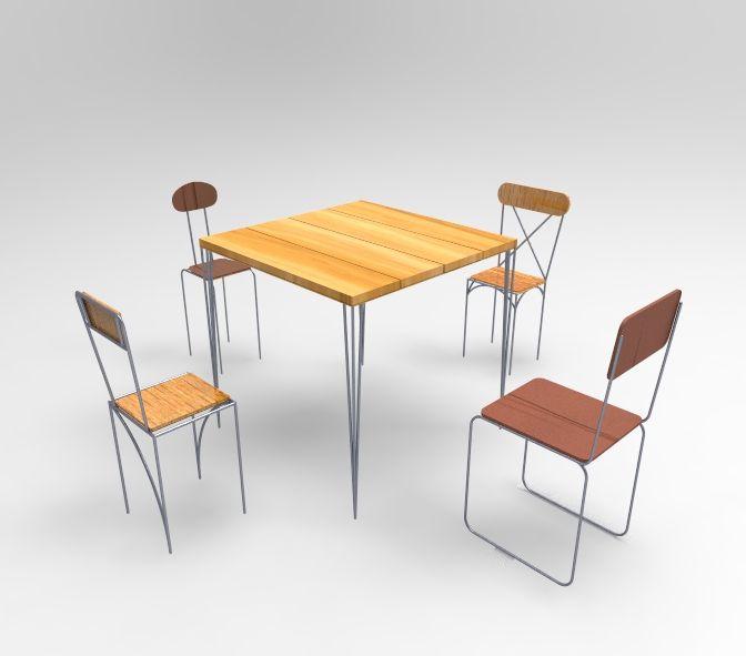 Progettazione tavolo e sedie in ferro legno for Sedie ferro legno