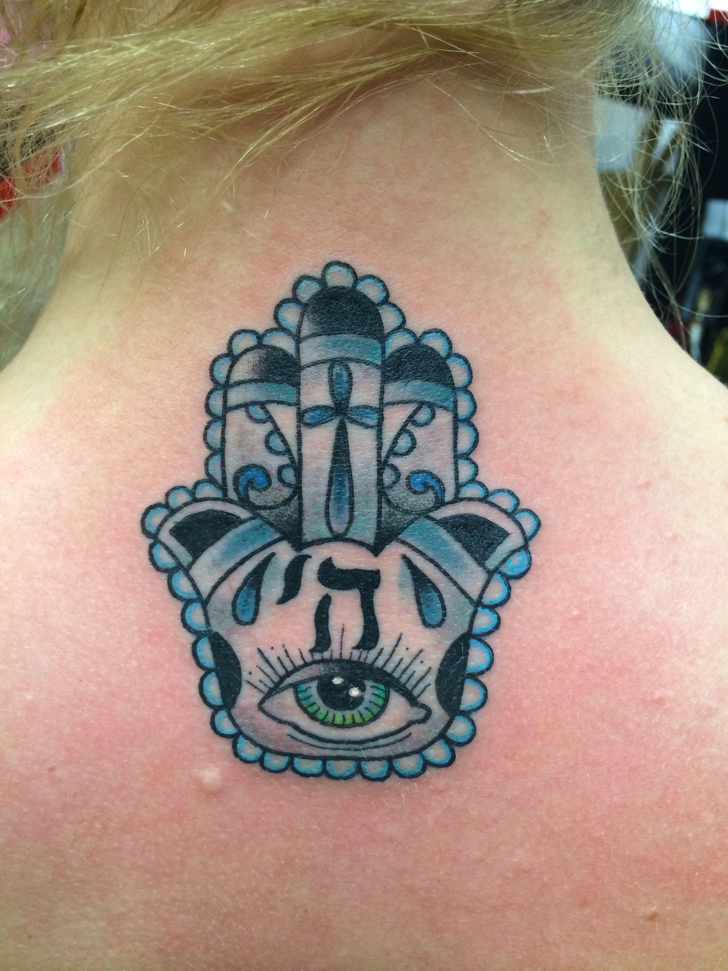 Christian & Jewish combo Hamsa hand tattoo Tattoos, Hand