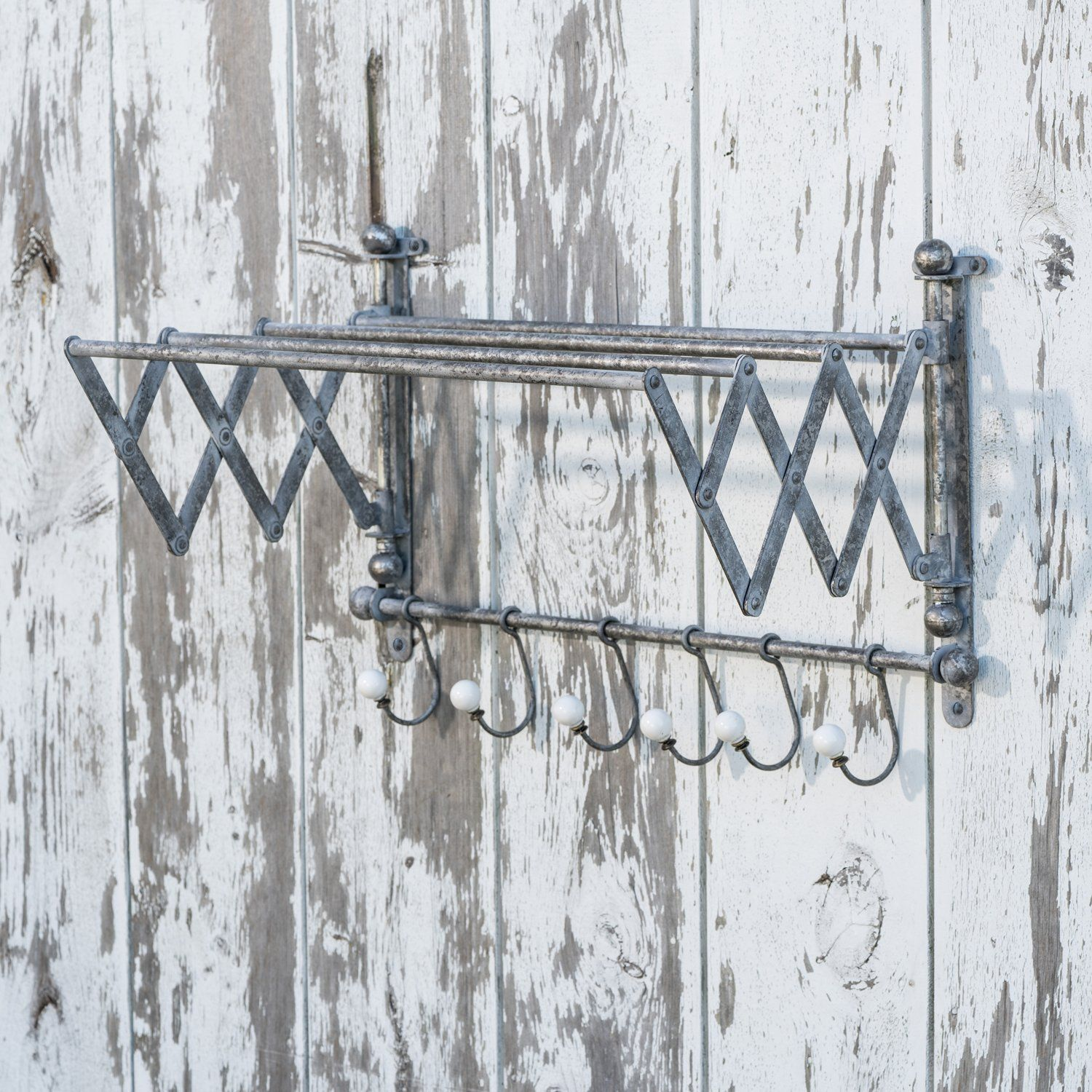 Vintage metal clothes drying rack with hooks clothes drying racks