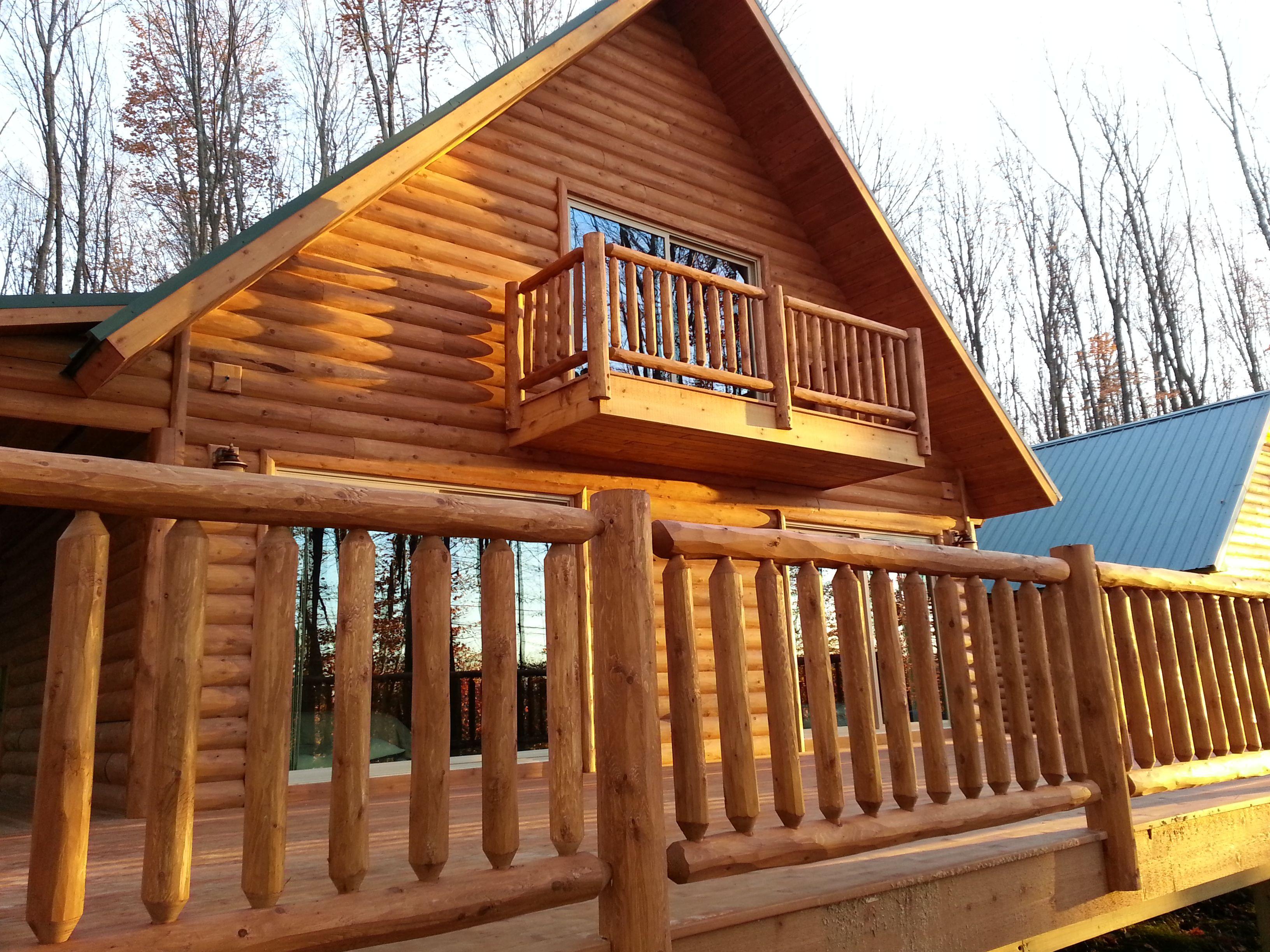 Cedar Log Deck Railing   Cabin decks, Log cabin homes, Log ...