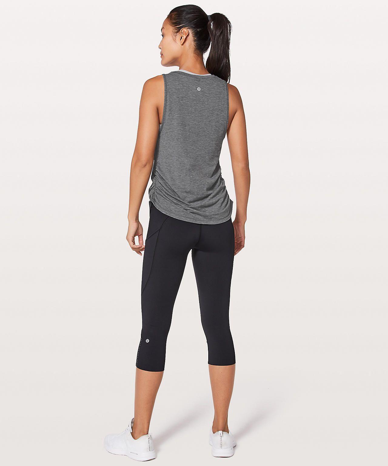 9b08038eb1 Ripple effect tank $58 Heathered Black Lulu Love, Lululemon Yoga, Fitness  Fashion, Capri