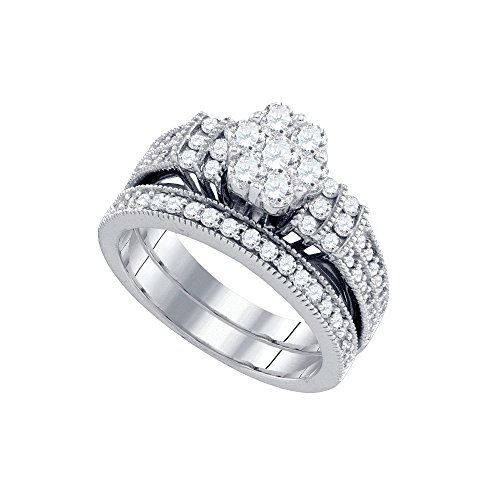 10kt White Gold Womens Natural Diamond Cluster Bridal Wedding Engagement Ring Band Set 1 Amp Diamond Bridal Sets Wedding Rings Engagement Band Engagement Ring