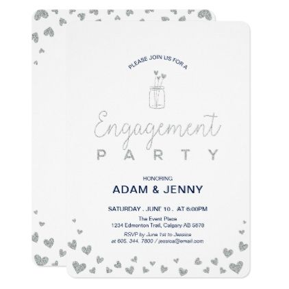 Modern Silver \ Navy Engagement Party Invitation Engagement - engagement party invitation template